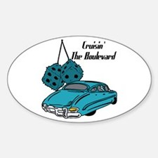 Blue Cruisin The Boulevard Oval Decal