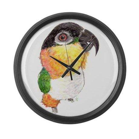 Black-headed Caique Parrot Large Wall Clock
