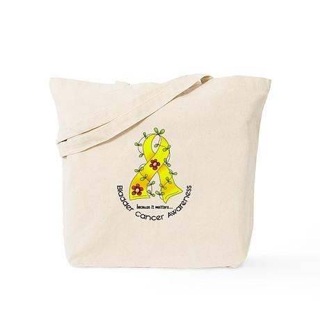 Flower Ribbon BLADDER CANCER Tote Bag