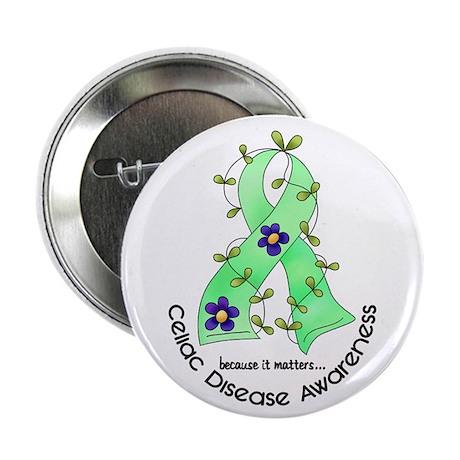 """Flower Ribbon CELIAC DISEASE 2.25"""" Button"""