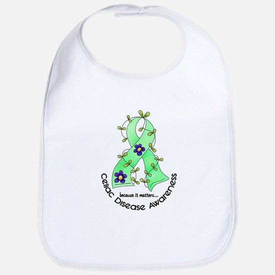 Flower Ribbon CELIAC DISEASE Bib