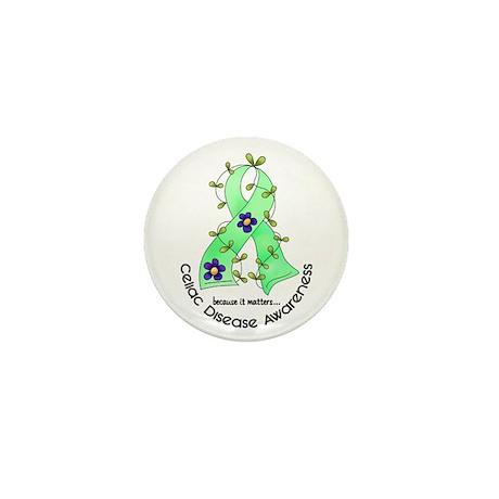 Flower Ribbon CELIAC DISEASE Mini Button (10 pack)