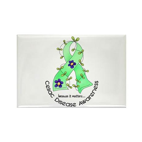 Flower Ribbon CELIAC DISEASE Rectangle Magnet (10