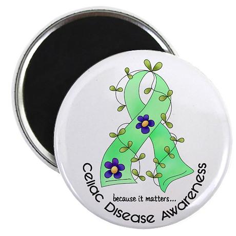 "Flower Ribbon CELIAC DISEASE 2.25"" Magnet (100 pac"