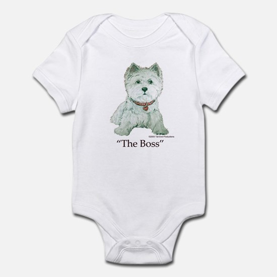 """The Boss"" Westhighland White Terrier Infant Bodys"