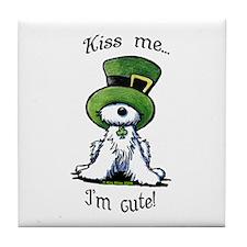 Kiss Me St. Patty's Westie Tile Coaster