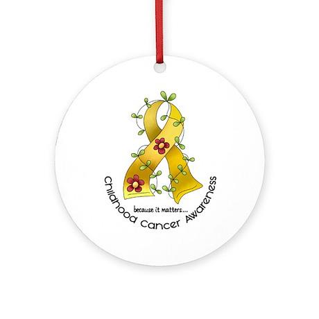 Flower Ribbon CHILD CANCER Ornament (Round)