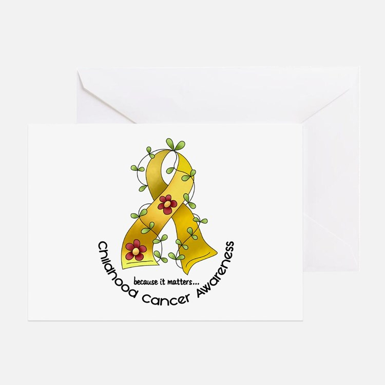 Flower Ribbon CHILD CANCER Greeting Card