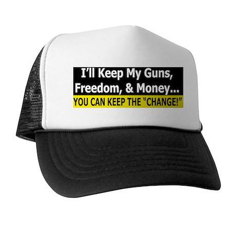Guns, Freedom, & Money Trucker Hat