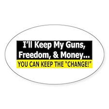 Guns, Freedom, & Money Oval Decal