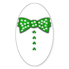 Funny Irish Bow Tie Sticker (Oval 50 pk)