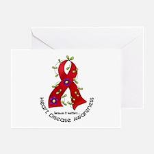 Flower Ribbon Heart Disease Greeting Cards (Pk of