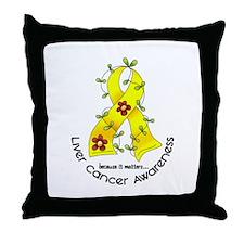 Flower Ribbon LIVER CANCER Throw Pillow