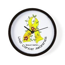Flower Ribbon LIVER CANCER Wall Clock