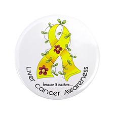 "Flower Ribbon LIVER CANCER 3.5"" Button (100 pack)"
