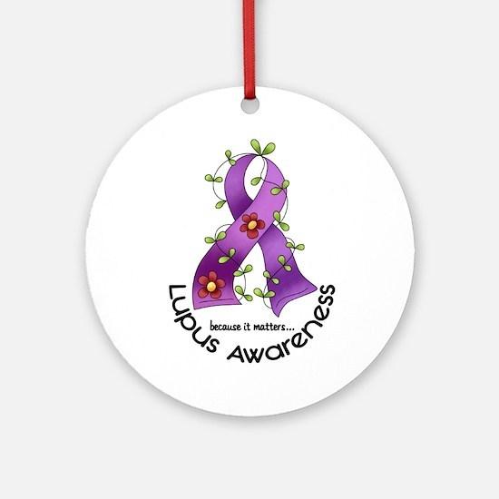 Flower Ribbon LUPUS Ornament (Round)