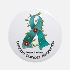 Flower Ribbon OVARIAN CANCER Ornament (Round)