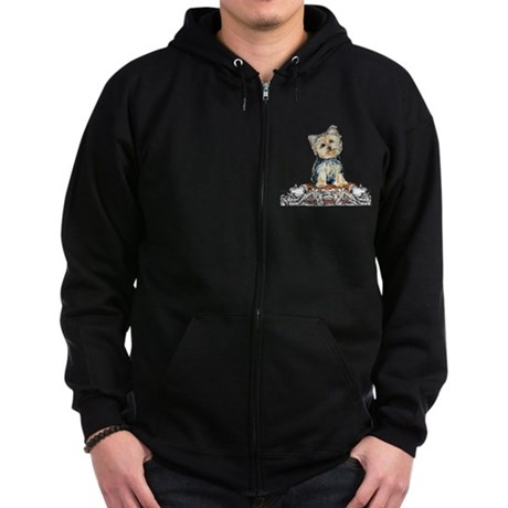 Yorkshire Terrier Small Dog Zip Hoodie (dark)