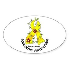 Flower Ribbon SARCOMA Oval Decal