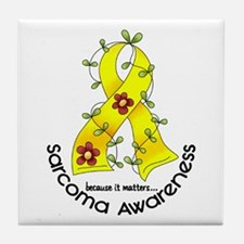 Flower Ribbon SARCOMA Tile Coaster