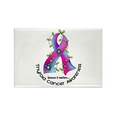 Flower Ribbon THYROID CANCER Rectangle Magnet
