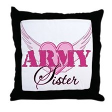 Army Sister Wings Throw Pillow