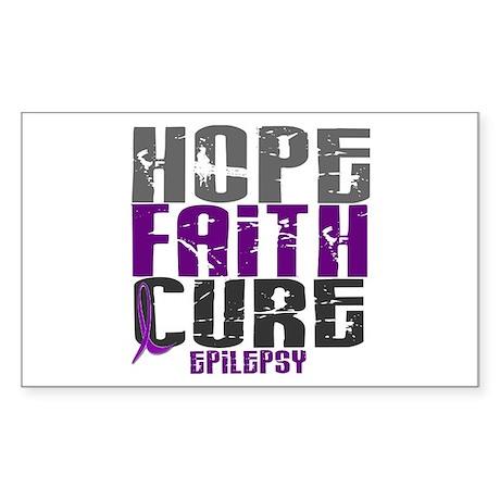HOPE FAITH CURE Epilepsy Rectangle Sticker