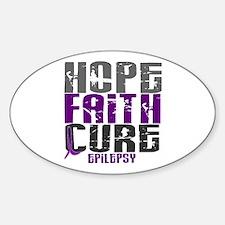 HOPE FAITH CURE Epilepsy Oval Decal
