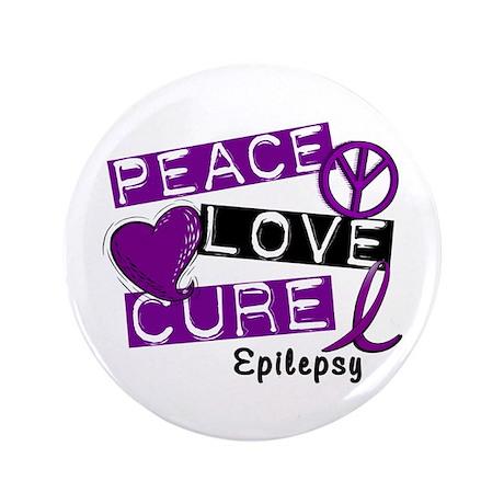 "PEACE LOVE CURE Epilepsy (L1) 3.5"" Button"