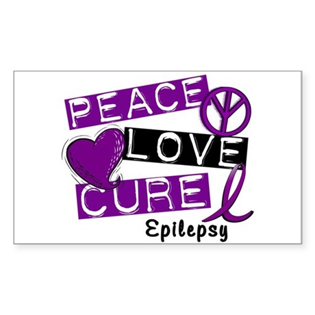 PEACE LOVE CURE Epilepsy (L1) Rectangle Sticker