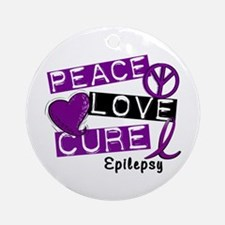 PEACE LOVE CURE Epilepsy (L1) Ornament (Round)