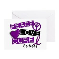 PEACE LOVE CURE Epilepsy (L1) Greeting Cards (Pk o