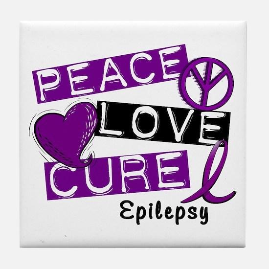 PEACE LOVE CURE Epilepsy (L1) Tile Coaster