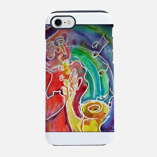 Music! Sax! Bright, fun art! iPhone 7 Tough Case