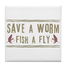 Save a Worm Tile Coaster