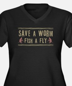 Save a Worm Women's Plus Size V-Neck Dark T-Shirt