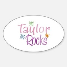 Taylor Girl's Name Rocks Oval Decal