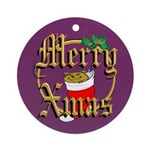 Cat Merry Exmas Holiday Gifts Ornament (Round)