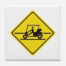 Caution Golf Car, Tennessee, USA Tile Coaster