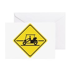 Caution Golf Car, Tennessee, USA Greeting Cards (P