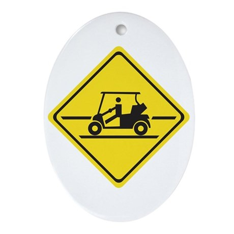 Caution Golf Car, Tennessee, USA Oval Ornament