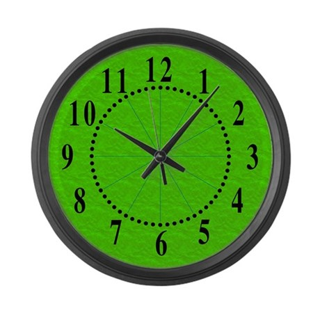 Textured Lime Green Look Large Wall Clock