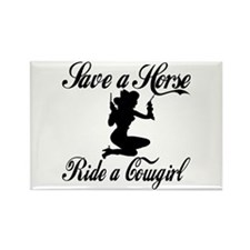 Save a Horse Ride a Cowgirl Rectangle Magnet