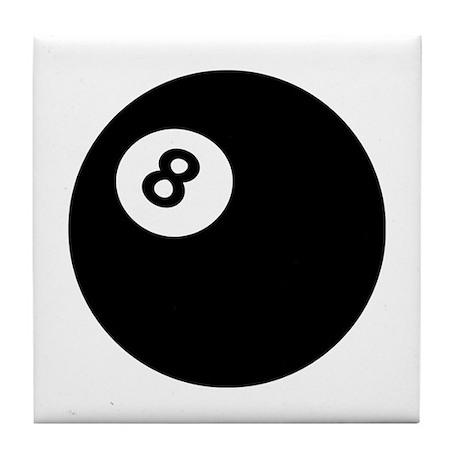 black billiard ball Tile Coaster