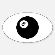 black billiard ball Oval Decal