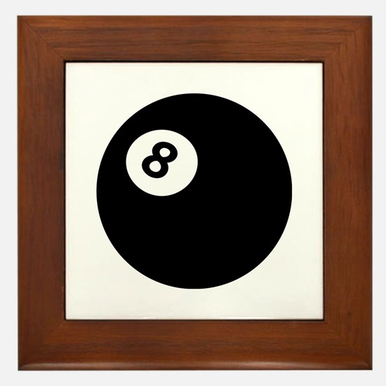 black billiard ball Framed Tile