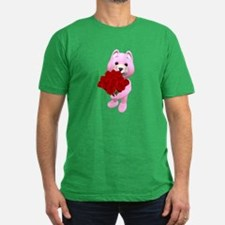 Pink bear with red roses T