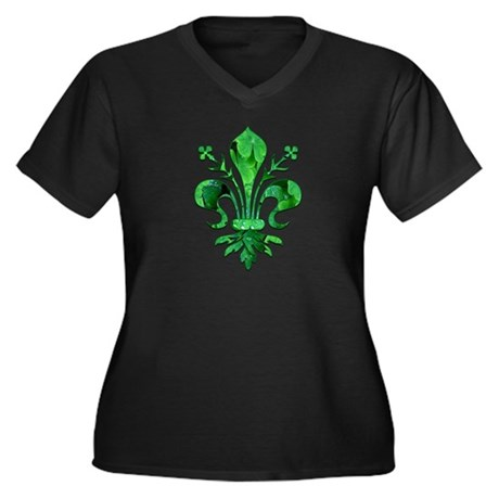 Irish Green Women's Plus Size V-Neck Dark T-Shirt