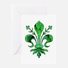 Irish Green Fleur de lis Greeting Card