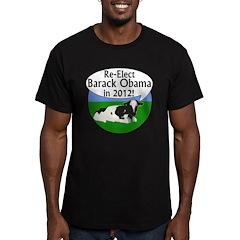 Cow: Re-Elect Obama 2012 Black T-Shirt